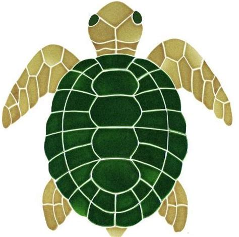 Turtle Top ceramic large turtle top view mosaic