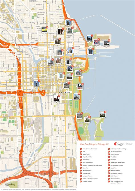 chicago map for chicago printable tourist map sygic travel