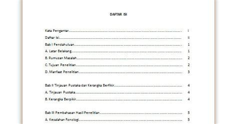 contoh format daftar isi yang benar contoh daftar isi makalah dengan format tabel microsoft