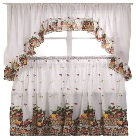 fruit basket printed kitchen curtain swag set farmhouse