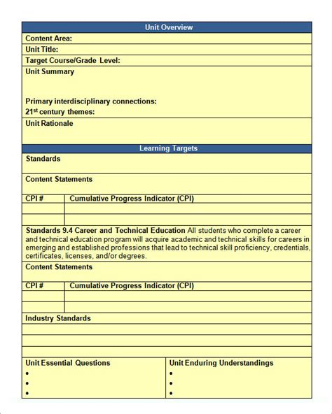 Unit Plan Template   11  Download Documents in PDF , Word