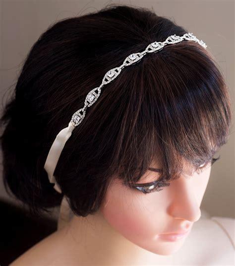 Wedding Hair Accessories Ribbon Headband by Wedding Bridal Headband Vintage Inspired Rhinestone