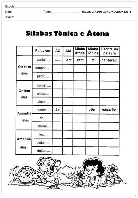 Atividades de Português 4º ano - Sílabas Tônicas e Átona