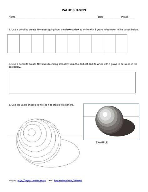 Shading Worksheet by Value Shading Worksheet
