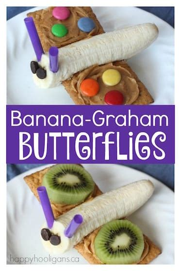 adorable banana graham butterfly snack  kids happy