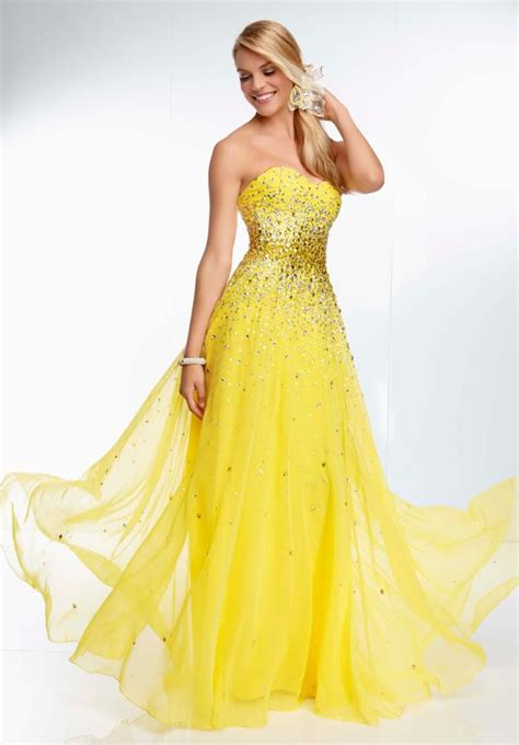 Strapless Floral Lace Yellow Party Dresses ? Designers Outfits Collection