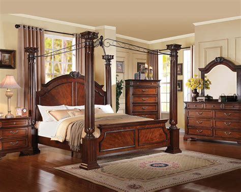 roman bedroom acme bedroom set in walnut roman empire iii ac23340set
