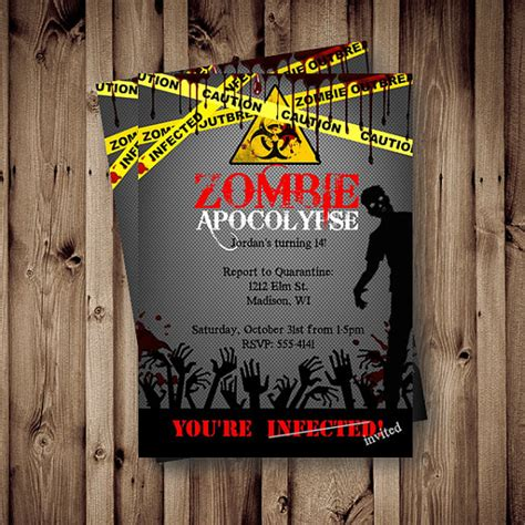zombie birthday invitation zombie party apocalypse by