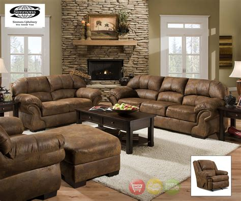 How To Set Up Furniture In Living Room by Pinto Tobacco Finish Microfiber Living Room Sofa And