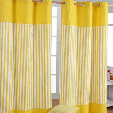 striped yellow curtains yellow striped ready made eyelet curtain cotton kids
