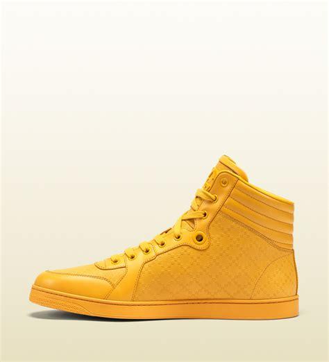 yellow high top sneakers gucci diamante leather high top sneaker in yellow for