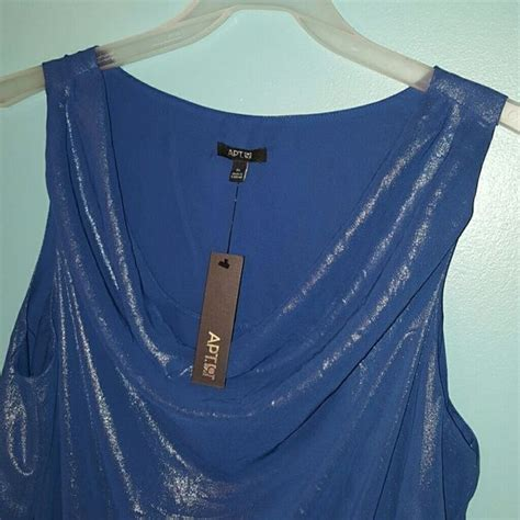 chiffon shimmer blue draped neck tank apt 9 brand womens size xl quot ink quot blue color soft silky