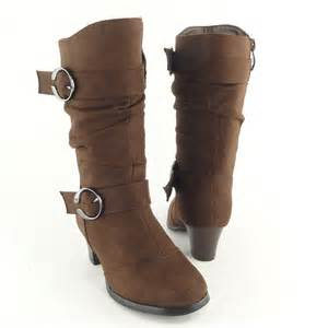 slouchy high heel buckle boots brown faux suede sz 9