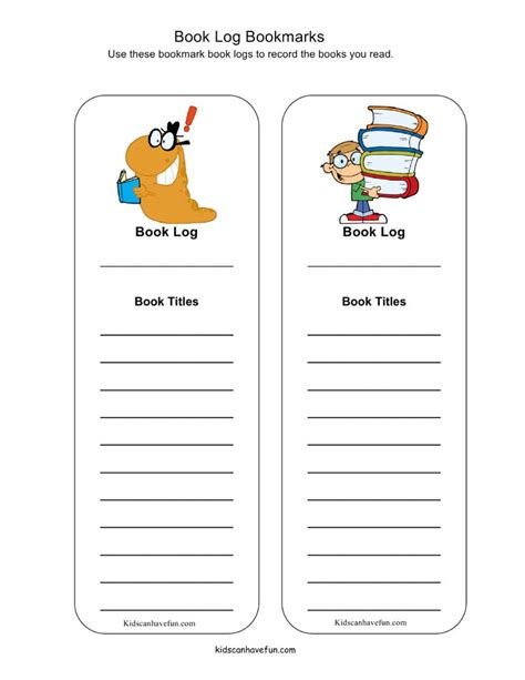 printable bookmark reading log 17 best images about reading activities for kids on