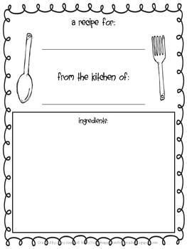 Writing Template For Thanksgiving Cards Kindergarten by Thanksgiving Recipe Book A Writing Activity By