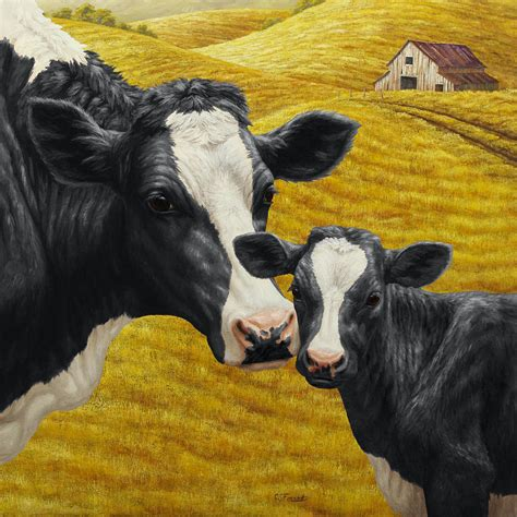 Cow Duvet Cover Holstein Cow And Calf Farm Painting By Crista Forest