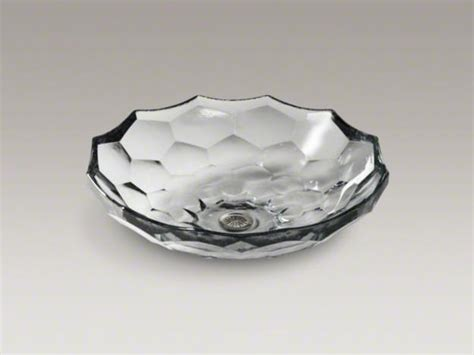 cut vessel sink briolette vessels glass above counter bathroom sink