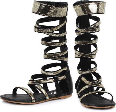 calf gladiator sandals sequin straps flat mid calf open toe zip up gladiator