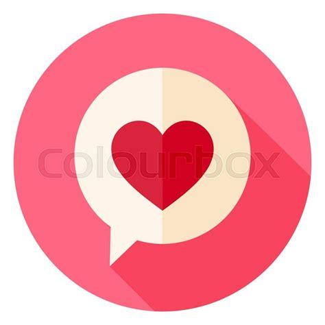 flat design icon heart love heart speech bubble circle icon flat design vector