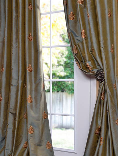 traditional curtains and valances trophy sea blue thai silk curtain traditional curtains
