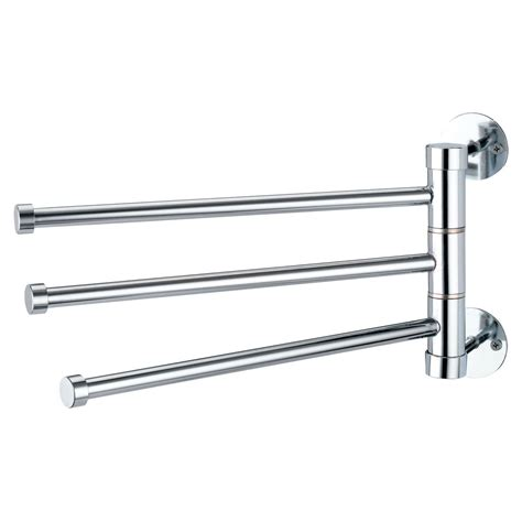 triple swing arm towel bar 3 arm swivel bars wall mounted chrome towel rail bathroom