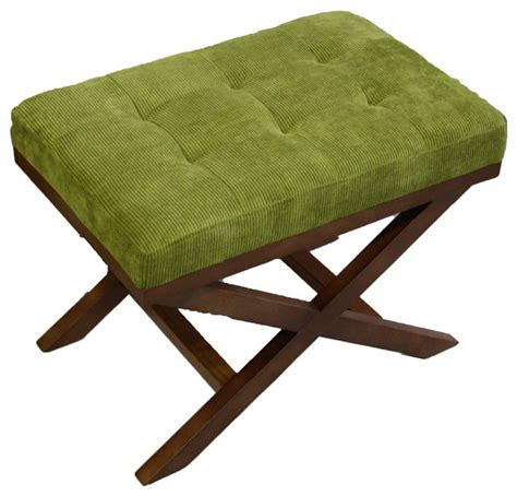 X Leg Ottoman Upholstered X Leg Ottoman Olive Green Contemporary Footstools And Ottomans