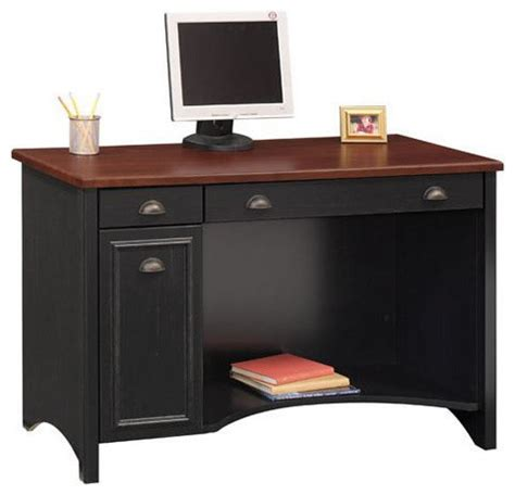 Black Wood Computer Desk Bush Stanford 48 Quot W Wood Computer Desk In Antique Black