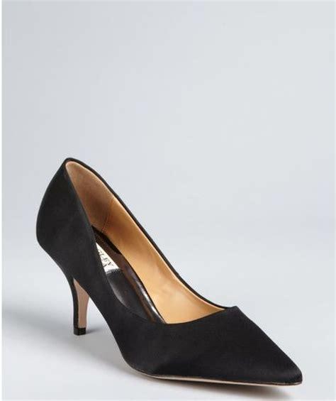badgley mischka black satin pointed toe monika ii pumps