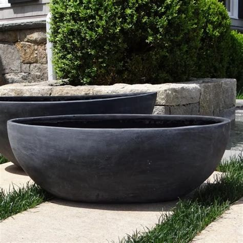 Large Outdoor Bowl Planters by Small Smooth Oval Bowl Planter Black W White Spruce