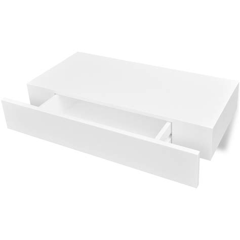 White Floating Wall Shelf by White Mdf Floating Wall Display Shelf 1 Drawer Book Dvd