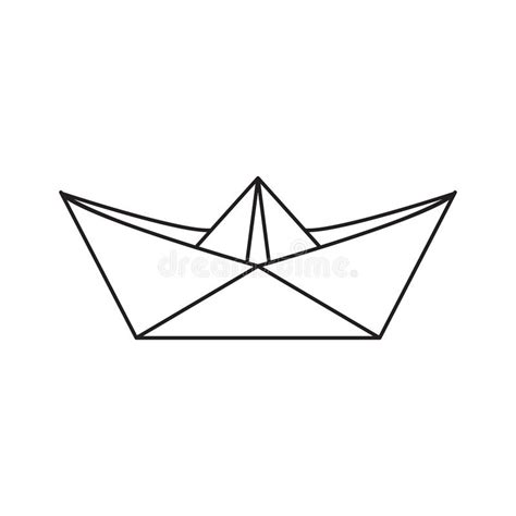 paper boat outline icon paper boat in the outline style stock vector