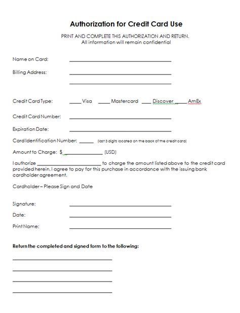 authorization letter for using credit card for hotel authorization for credit card use free authorization forms