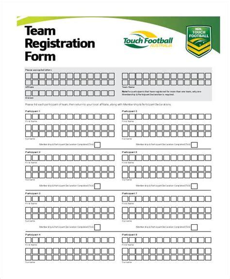 Registration Form Templates Team Registration Form Template