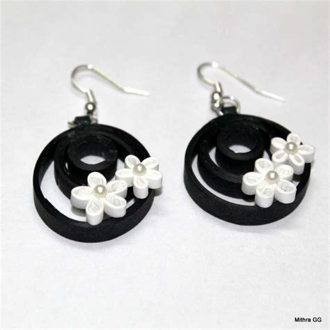Paper Earring - paper quilled earrings black white quilled jewell