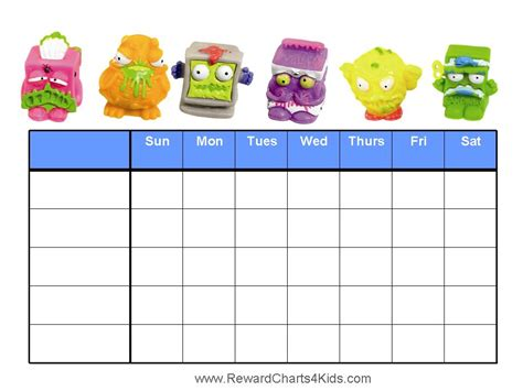 free printable weekly reward charts the trash pack reward charts