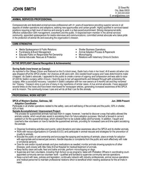 animal services professional resume template premium