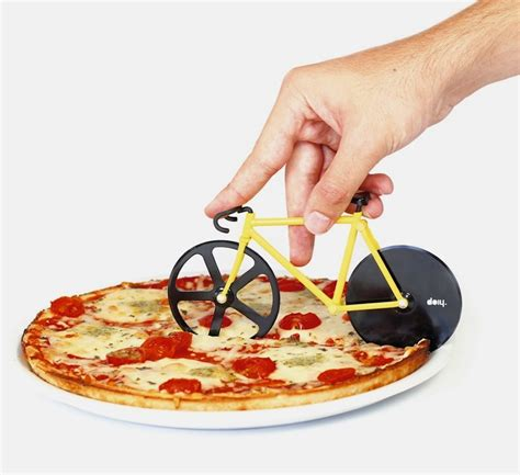 Coolest Cooking Gadgets by Fixie Pizza Cutter By Doiy Rotating Bicycle Wheel Pizza