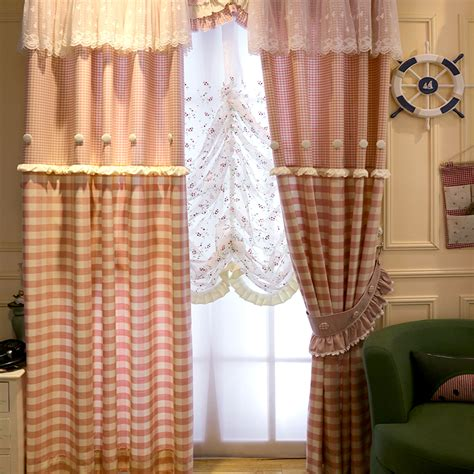 pink gingham curtains pink gingham print cotton custom kids curtains without