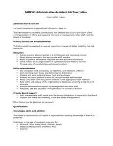executive administrative assistant description template administrative assistant description business