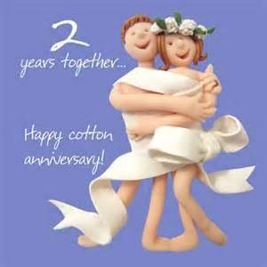 happy 2nd cotton anniversary greeting card one lump or two cards kates