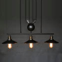 Chandelier Pulley 3 Pulley Chandelier Iron Ceiling Light Bar Retro Hanging Ceiling Shade L Ebay