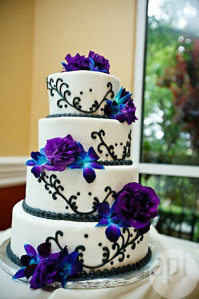 Black Wedding Cake Flowers by Blue And Purple Wedding Decor Www Pixshark Images
