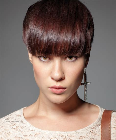 hairstyles for short hair cut short hairstyle with a thick fringe that covers the eyebrows