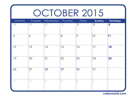 Calendã De 2015 October 2015 Calendar Printable Calendars