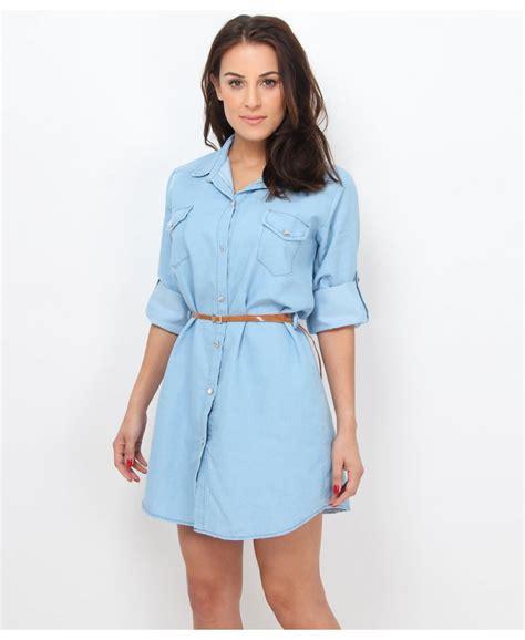 krisp belted denim shirt dress krisp from krisp clothing uk