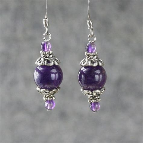 Handmade Drop Earrings - amethyst drop earrings handmade anni designs personlize