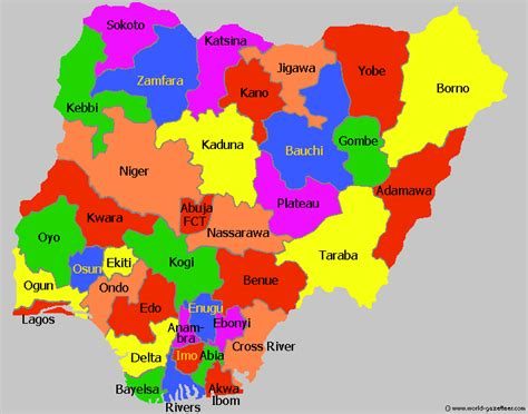 map of nigeria with states about nigeria