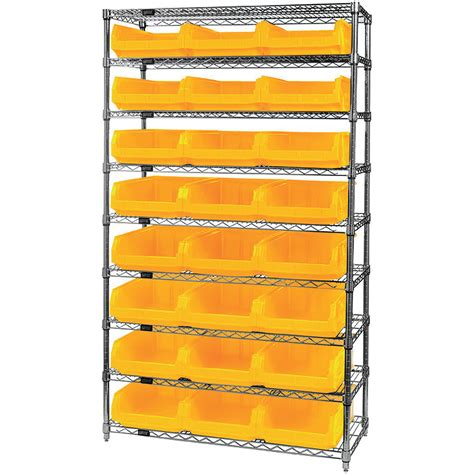 quantum storage 24 bin chrome wire shelf bin system 18in