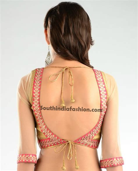 design jacket blouse saree blouse designs with net sleeves south india fashion