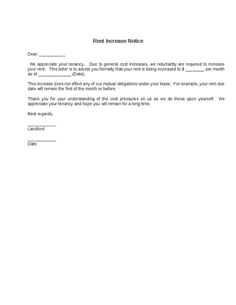 Letter Stating Increase In Rent Letter Of Rent Increase Free Printable Documents